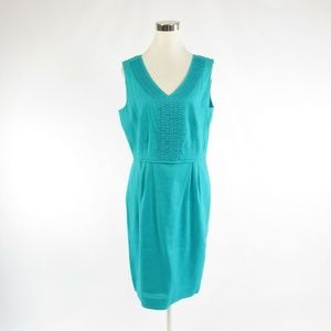 Teal green ALEX MARIE embroidered sheath dress 12